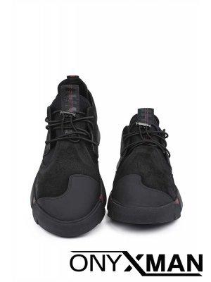 Мъжки обувки с кожа и неопрен