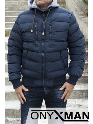 Зимно дебело мъжко яке в син цвят Големи Размери