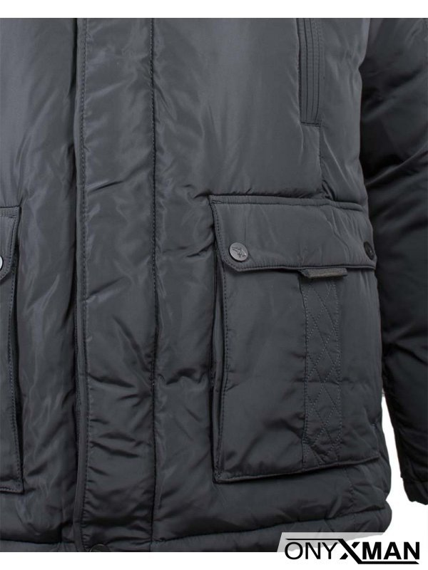 Дебело зимно яке с големи джобове