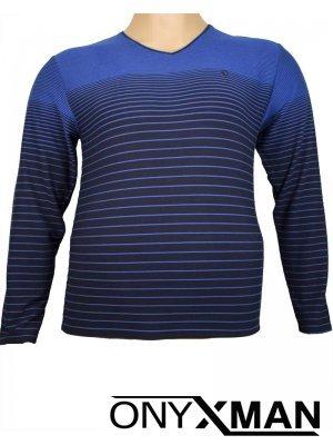 Мъжка елегантна блуза с остро деколте Големи Размери