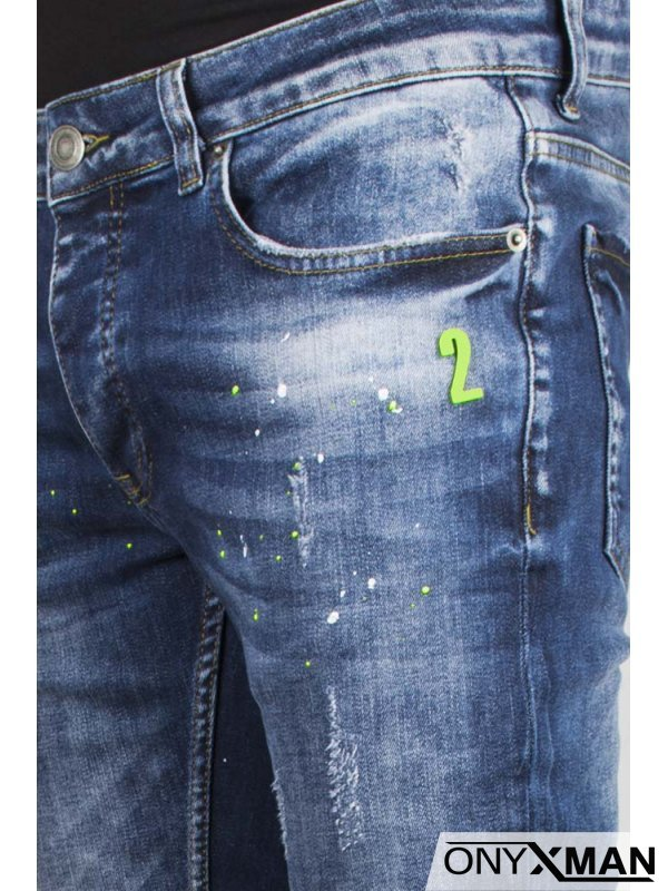 Мъжки дънки със зелени пръски №: 51118