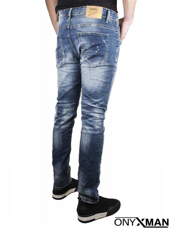 Мъжки дънков панталон с пръски боя №: 51115