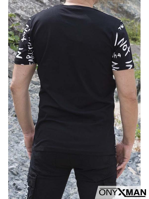Тениска в черно с интересен принт №:152531