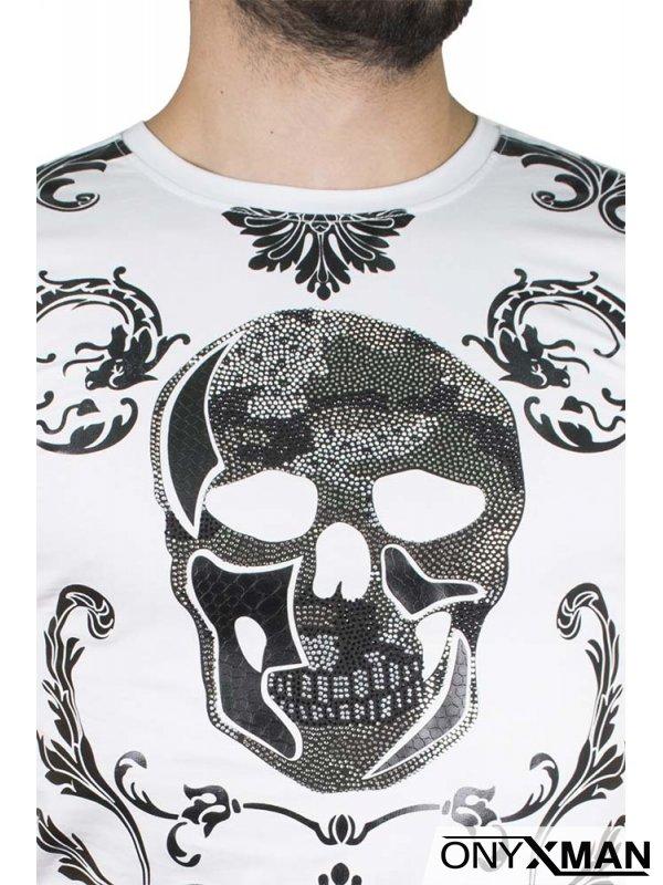 Тениска в бяло с череп с камъни №:150022