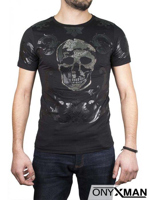 Тениска в черен цвят с череп с камъни №:150021