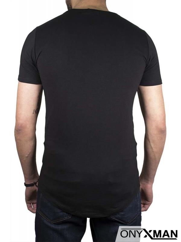 Черна тениска с крила и камъни №:150041