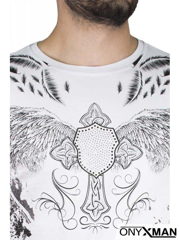 Бяла тениска с крила и камъни №:150042
