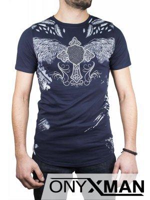 Синя тениска с крила и камъни №:150043