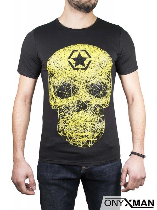 Тениска със зелен череп