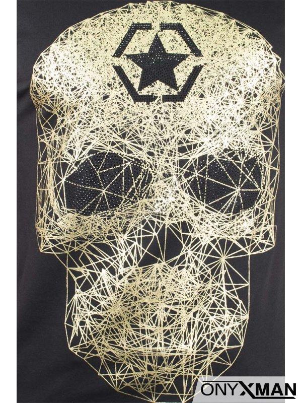 Тениска със златист череп и камъни