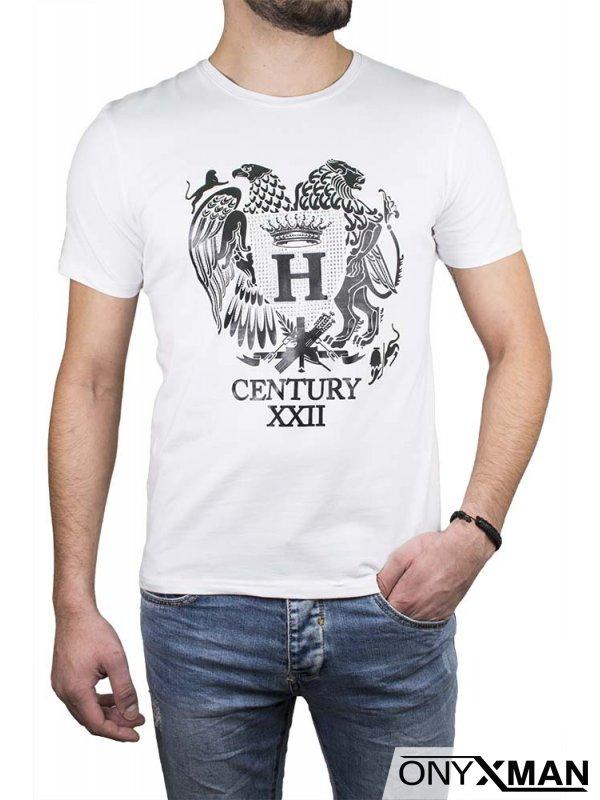 Тениска в черен цвят с орел и лъв