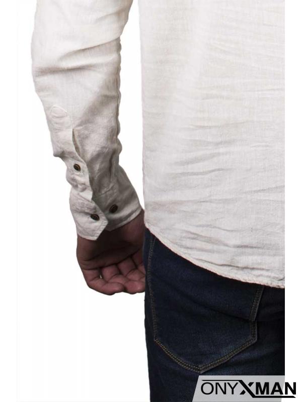 Небрежна лятна риза в бежово
