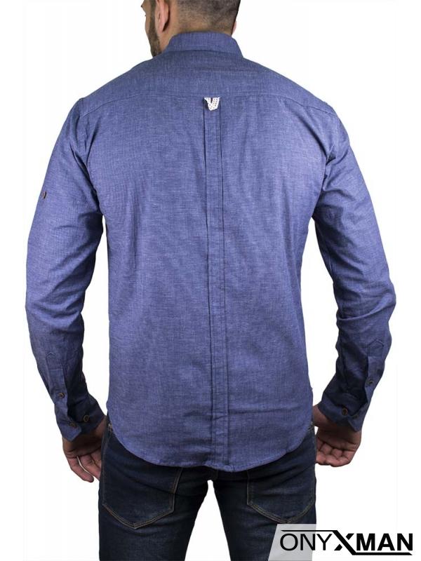 Стилна спортно-елегантна риза в синьо