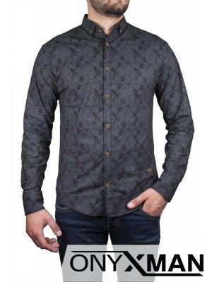 Мъжка стилна риза в тъмно сиво