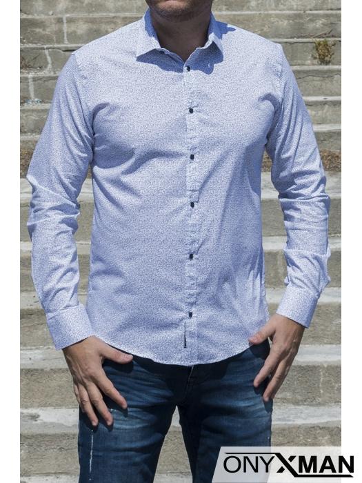 Мъжка стилна риза в бяло