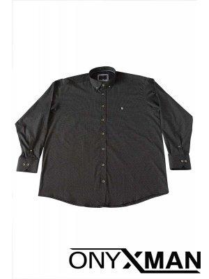 Мъжка риза в черен цвят Големи размери