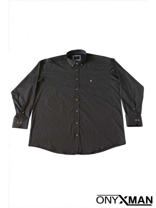 Мъжка риза Макси размер в черен цвят