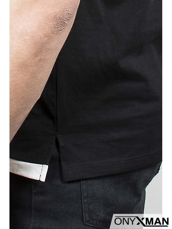 Къса и широка спортна тениска в черно