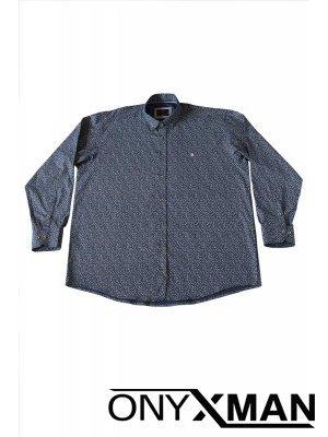 Мъжка риза в син цвят Големи размери