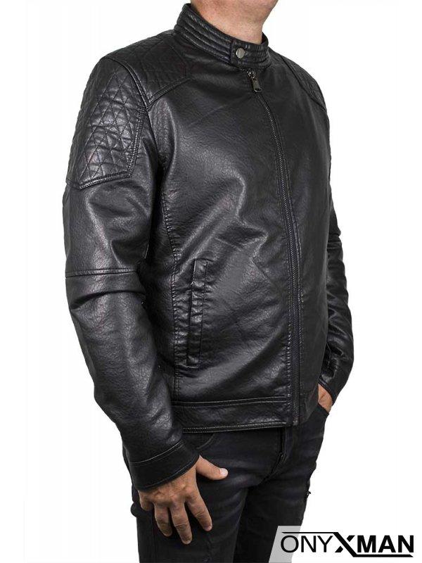 Подплатено късо яке от изкуствена кожа