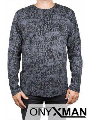 Мъжка блуза с букви в тъмно сиво
