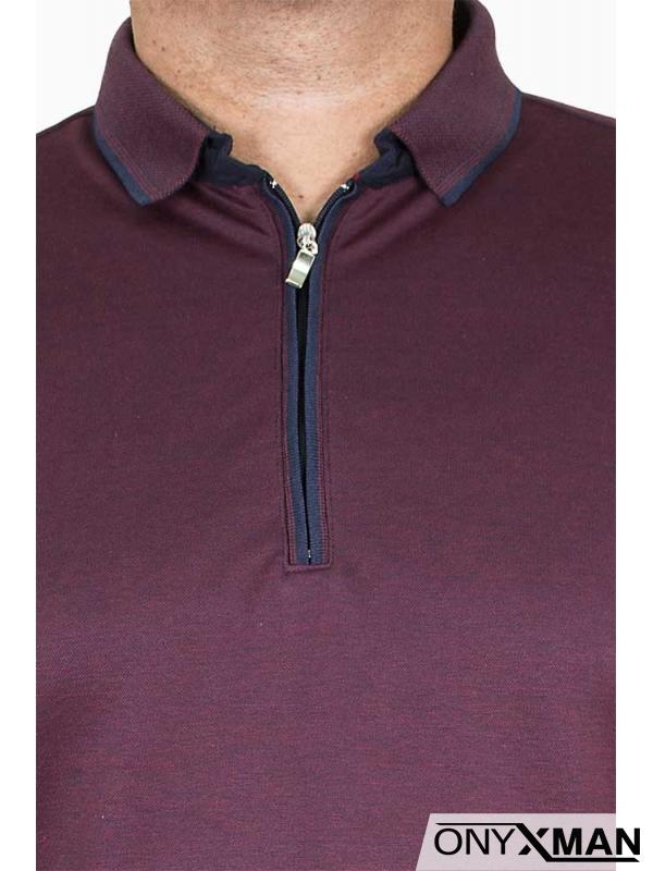 Блуза в бордо с яка и цип