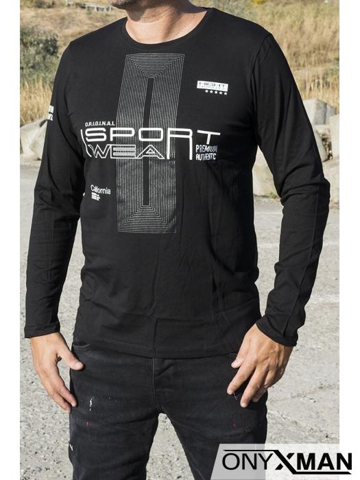 Памучна блуза с бели надписи