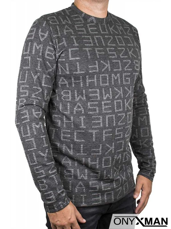 Мъжка блуза в тъмно сиво с големи букви
