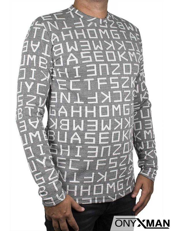 Мъжка блуза в светло сиво с големи букви
