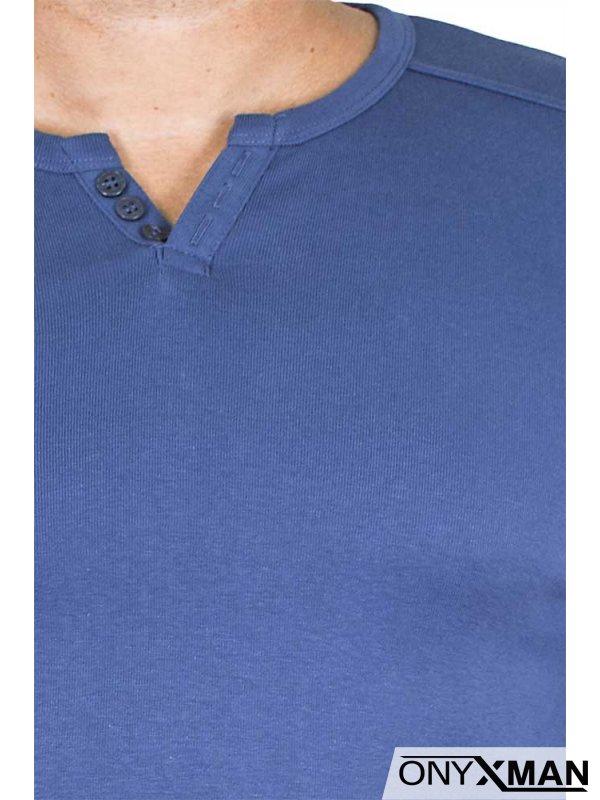Изчистена блуза в бордо с копченца