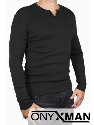 Изчистена блуза в черно с копченца