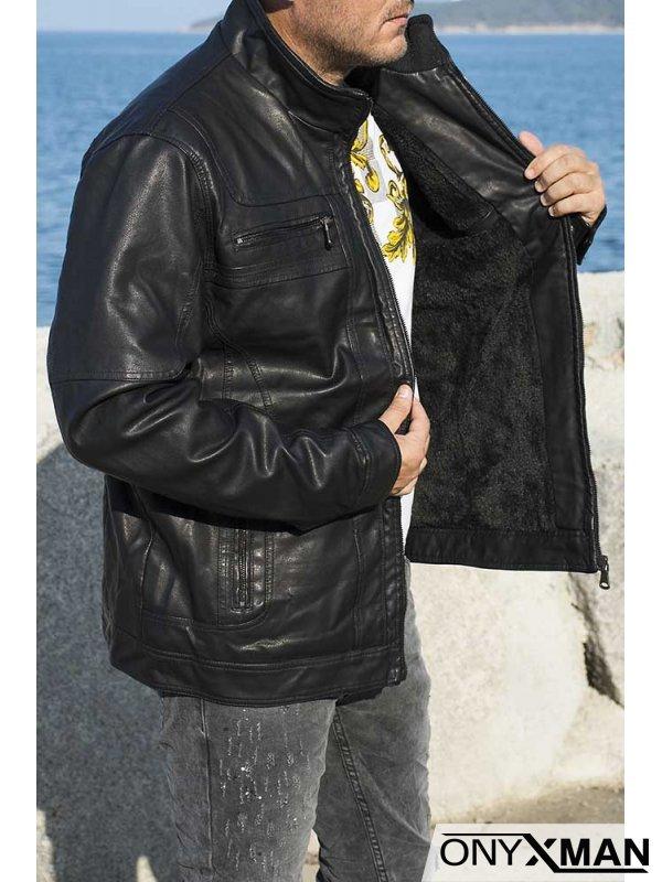 Късо кожено яке от изкуствена кожа