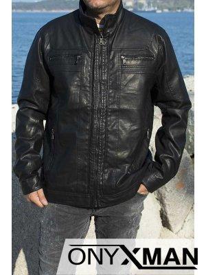 Късо кожено яке от изкуствена кожа Големи размери