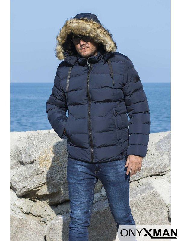 Топло зимно яке в синьо