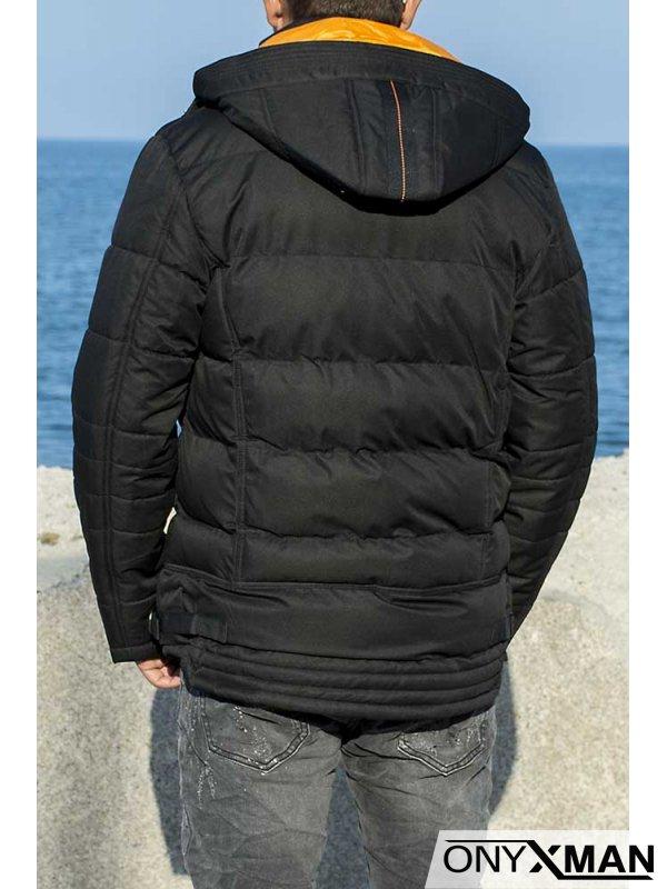 Зимно яке в черно с оранжева подплата