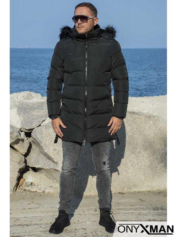 Дълго зимно яке в черно с ленти и ципове