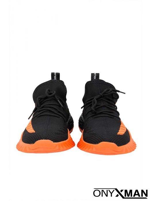 Спортни обувки в черно и оранжево