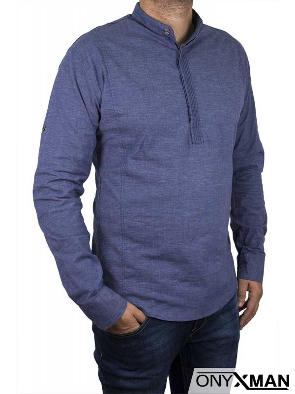 Стилна мъжка риза със столче яка в син деним цвят