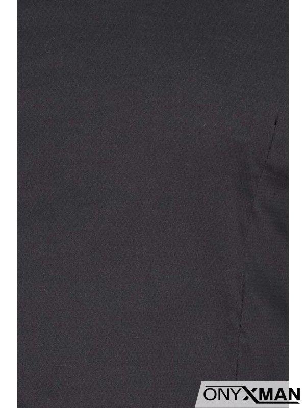 Мъжка риза в черно тип Оксфорд