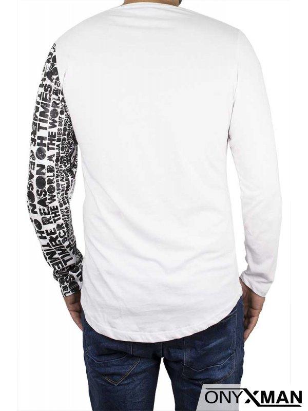 Памучна блуза в бяло с принт букви