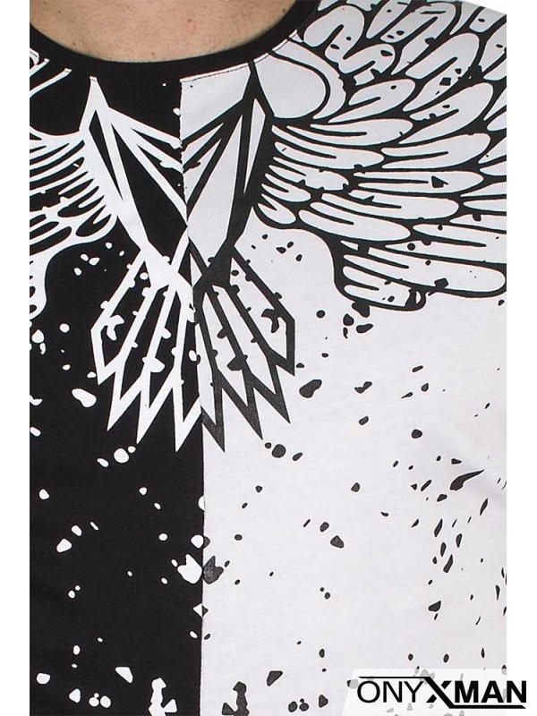 Двуцветна блуза с крила в бяло и черно