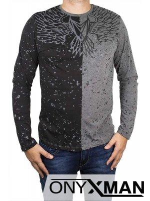 Двуцветна блуза с крила в сиво и черно