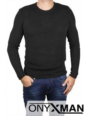 Черна блуза плетиво с релефна фигура