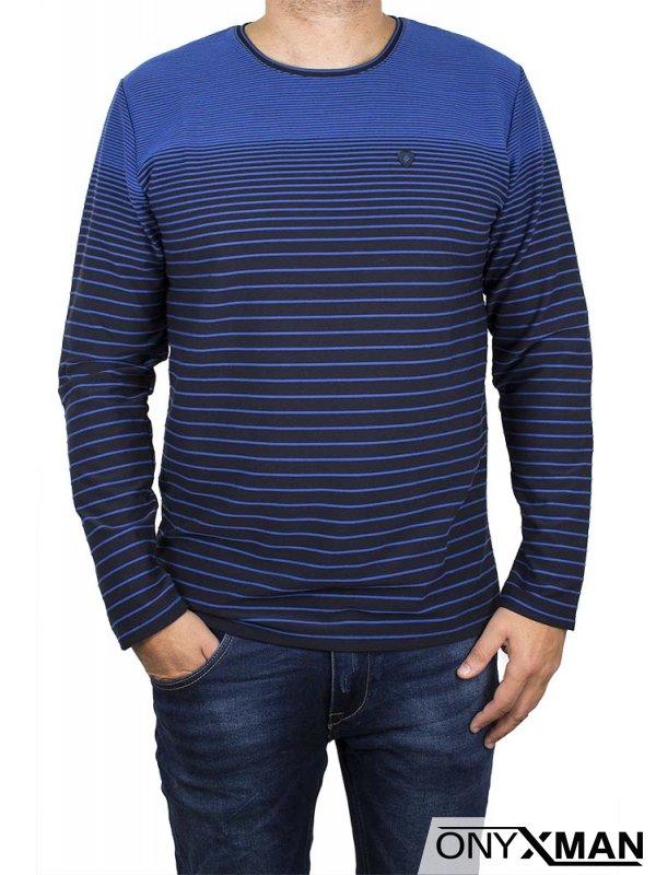 Стилна блуза в бордо с кръпки на ръкавите