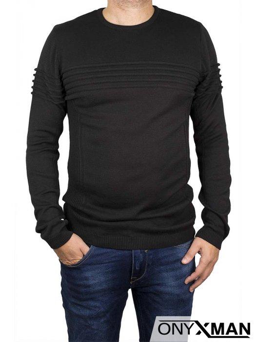 Блуза плетиво в черен цвят