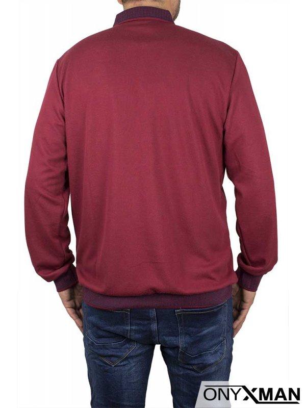 Стилна блуза в бордо с якичка