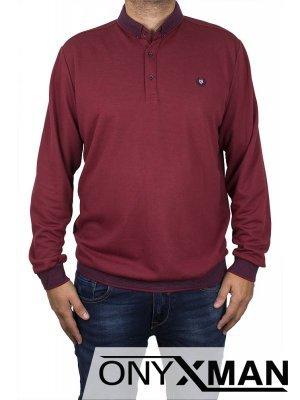 Стилна блуза с яка в бордо Големи Размери