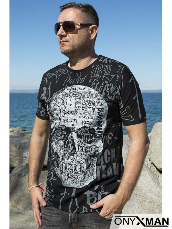 Тениска с череп от камъни в бяло