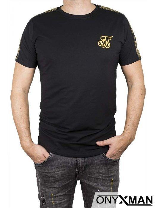 Черна тениска с бродерия