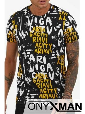 Тениска с букви в оранжево